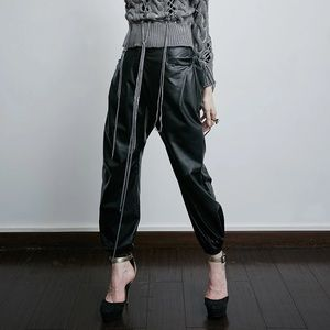 BNWT Black Leather Wide Leg Elastic Waist Pants L